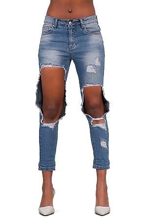 Women/'s boyfriends style stretch Jeans with Rips Light Blue UK 6 8 10 12 14