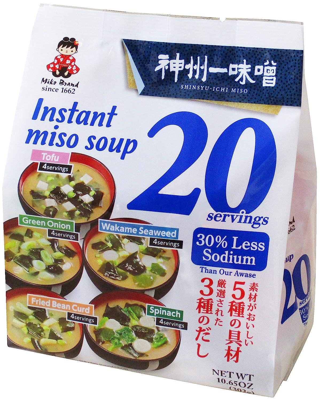 Miyasaka Instant Miso Soup Awase-Variety-30% Less Sodium, 10.65 Ounce