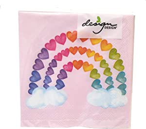 Blush Pink Hearts Rainbow Clouds Cocktail Napkins, 20 Beverage Napkins - 5x5 Inch Square