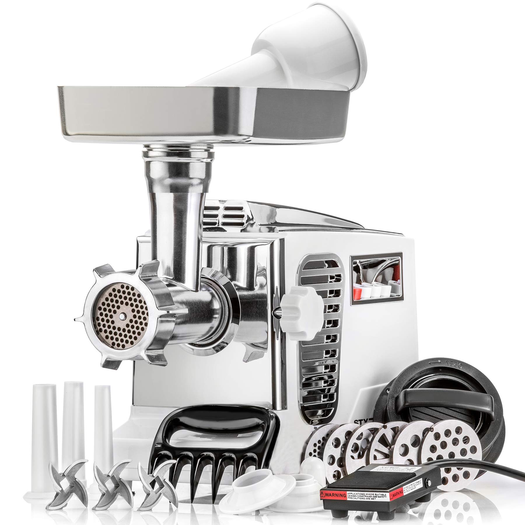 STX Turboforce II''Platinum'' w/Foot Pedal Heavy Duty Electric Meat Grinder & Sausage Stuffer: 6 Grinding Plates, 3 S/S Blades, 3 Sausage Tubes, Kubbe, 2 Meat Claws, Burger-Slider Patty Maker - White by STX INTERNATIONAL