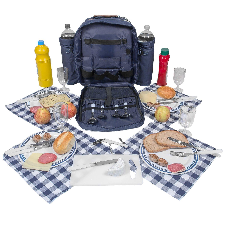#Picknickrucksack für 4 Personen in blau mit Kühlfach und Geschirr#