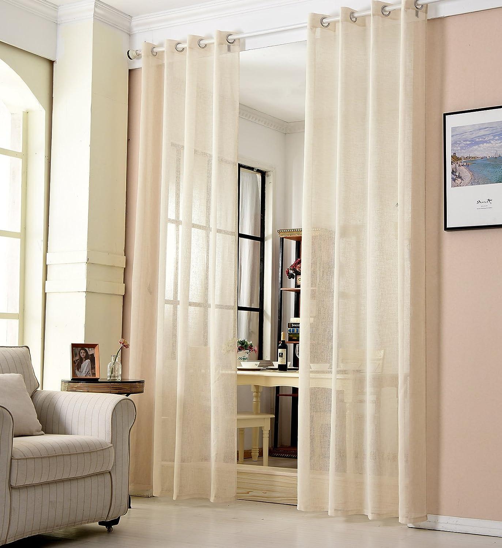 Voilage /à /œillets 140x175cm WOLTU/® 2 pi/èces Rideaux Semi-Transparents D/éco Maison Blanc VH5857ws-2