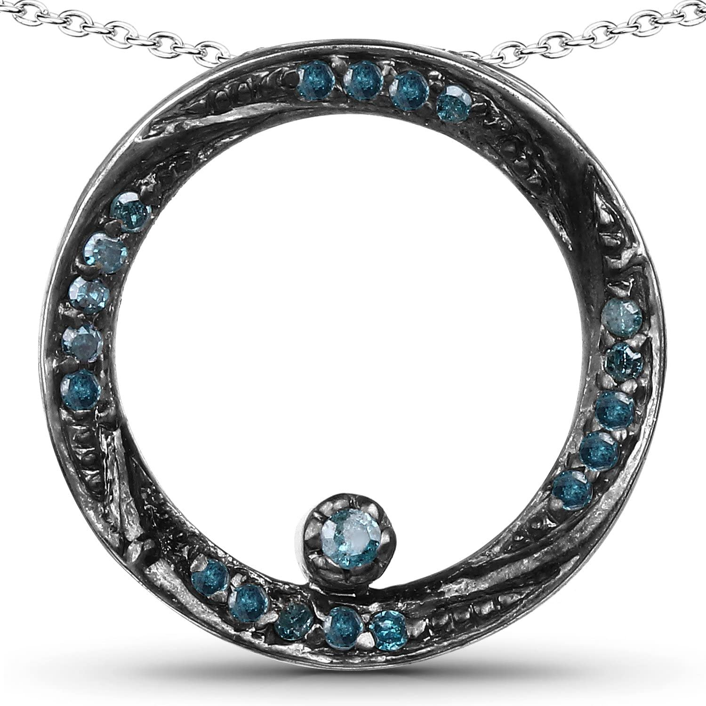 0.23 Carat Genuine Blue Diamond .925 Sterling Silver Pendant