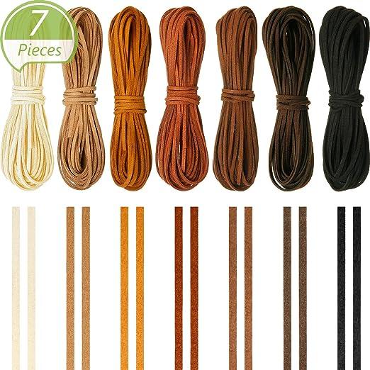 6 Colores 6 Piezas 3 mm x 5 m de Cuerda de Cuero para Pulsera Collar Fabricaci/ón de Bisuter/ía y Abalorios Manualidades Artesan/ía