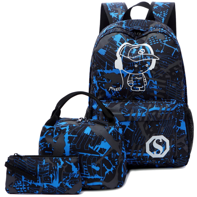 BLUBOON School Backpack for Boys Teens Bookbag Travel Daypack Kids Girls Lunch Bag Pencil Case (Blue-3pcs) by BLUBOON