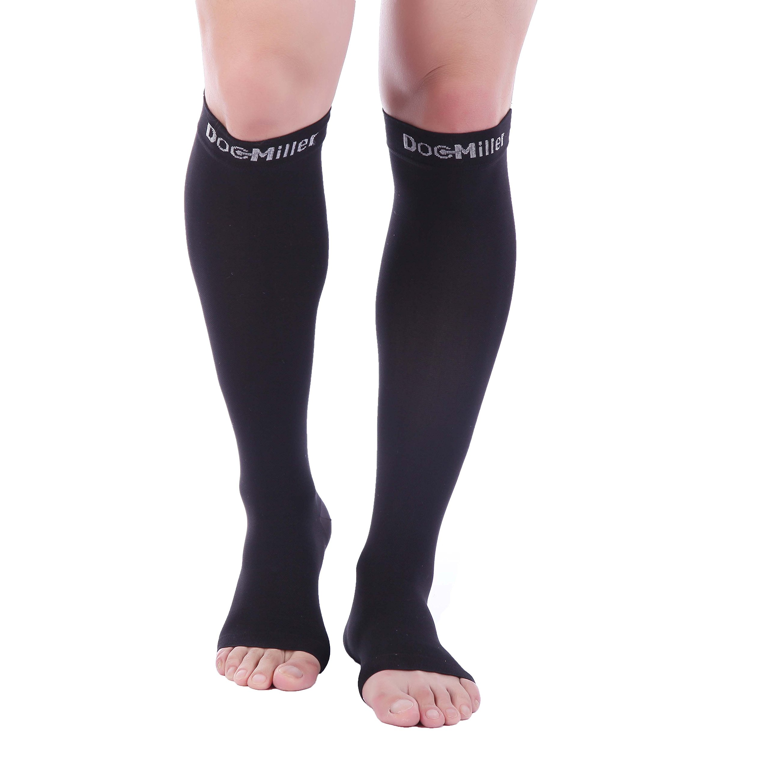 Doc Miller Premium Open Toe Compression Socks 1 Pair 30-40 mmHg Medical Grade Support Graduated Pressure Recovery Circulation Varicose Spider Veins Airplane Maternity Stockings (Black, Small)