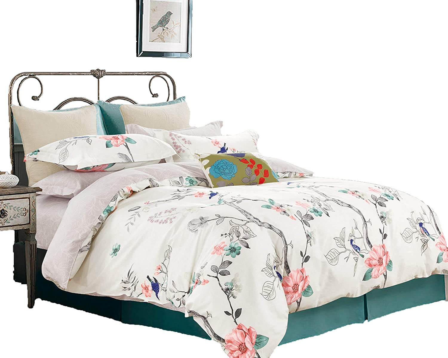 Swanson Beddings Blue Floral 2-Piece 100% Cotton Bedding Set: Duvet Cover and One Pillow Sham (Twin)