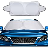 Mtlee Car Windshield Sun Shade Snow Cover Visor Protector Awning Shade Large Foldable Silvering UV Reflector with Ears and Travel Pouch Fits Most Car in Summer and Winter,1 Piece, 63 x 34 Inches