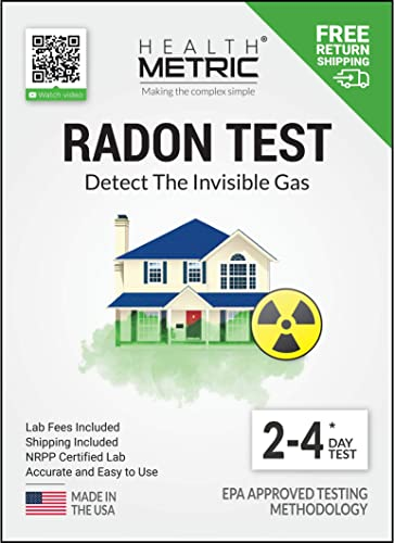 Radon Test Kit for Home – Shipping Lab Fees Included Easy to Use Charcoal Radon Gas Detector for Peace of Mind 48-96h Short Term EPA Approved Radon Tester Protect Yourself and Your Family