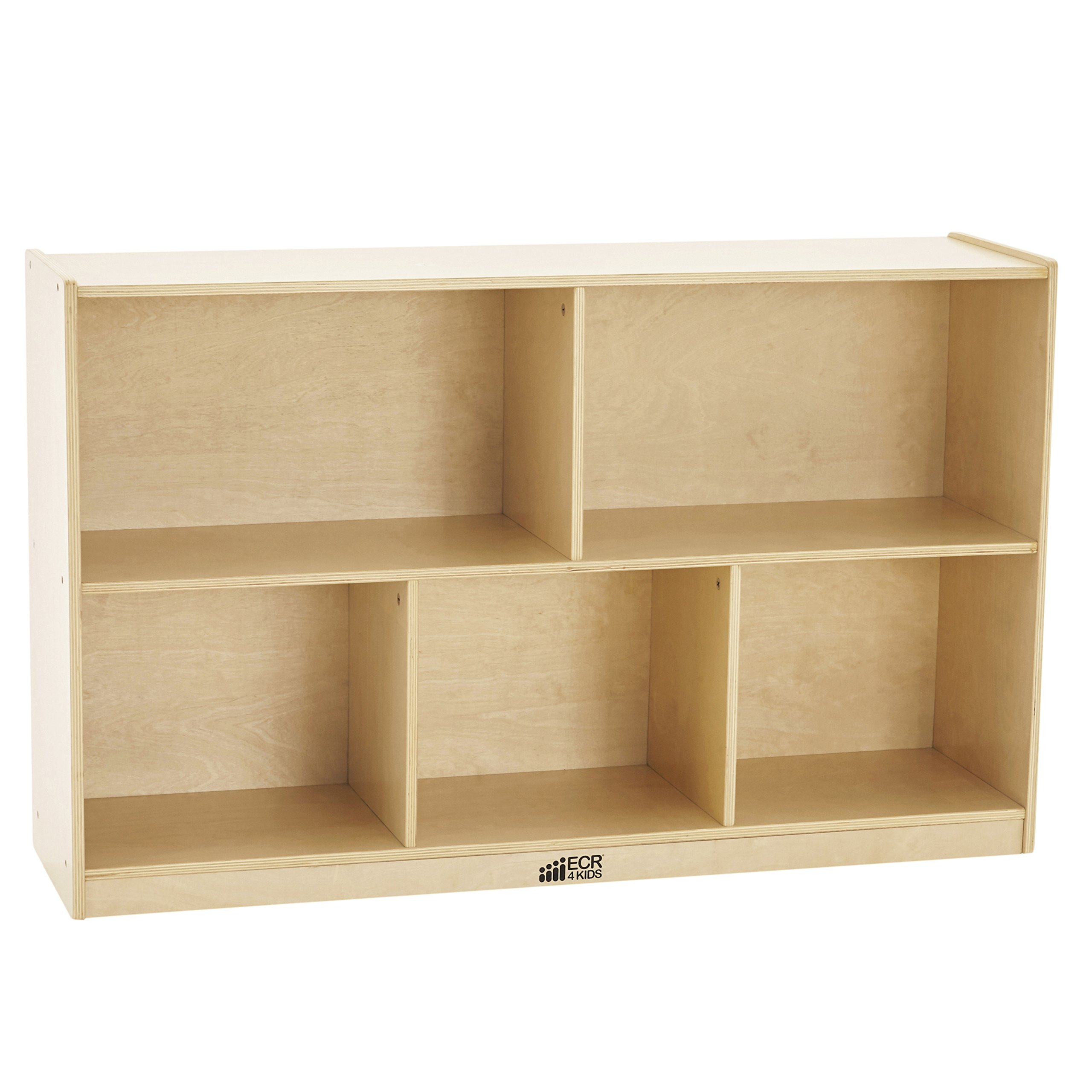 ECR4Kids Birch 5-Section School Classroom Storage Cabinet with Casters, Natural, 30'' H
