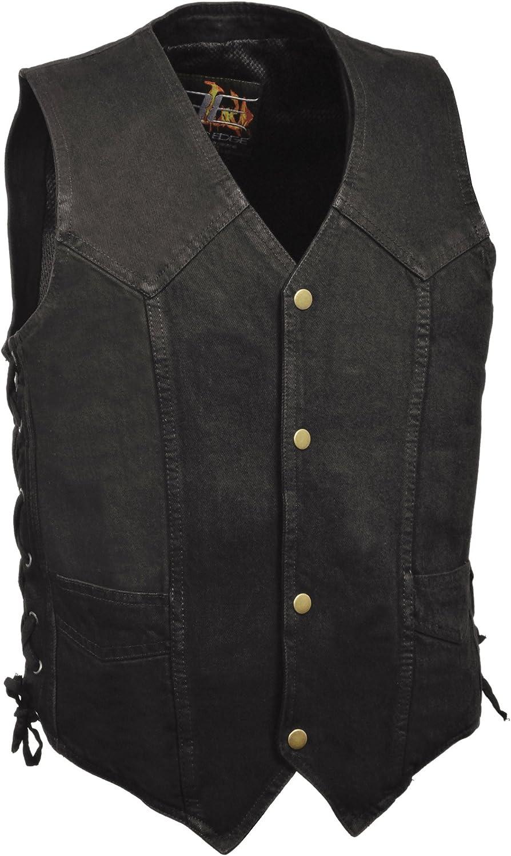 Milwaukee Leather Mens Denim 10 Pocket Side Lace Vest