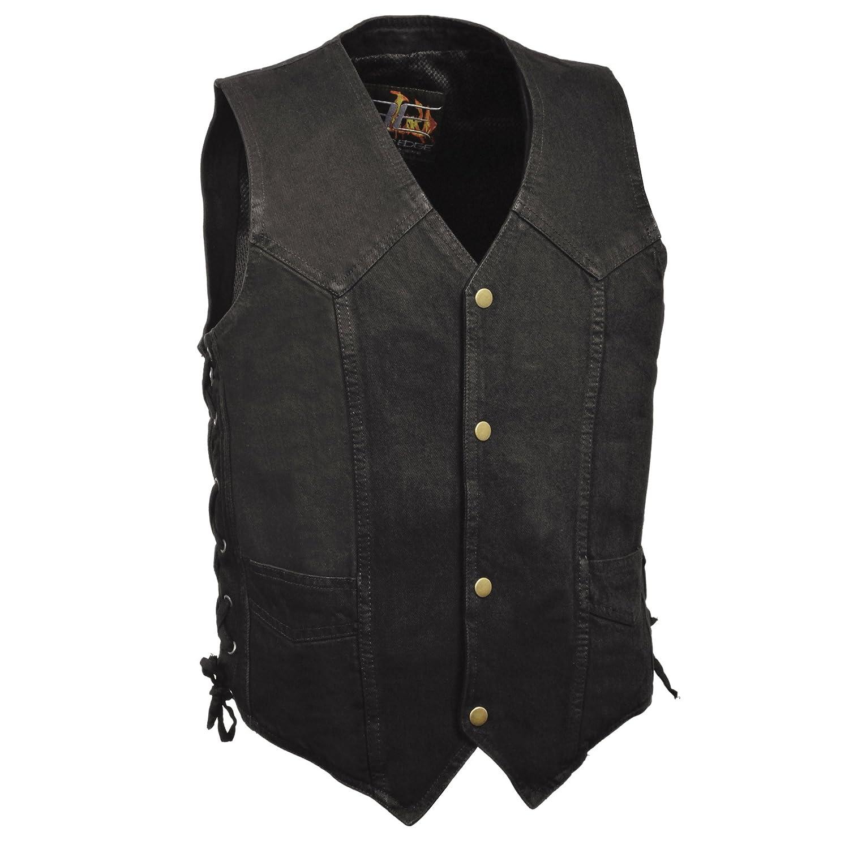 BLACK-2XL ZOOM LEATHER-Mens Classic Snap Front Side Lace Denim Vest