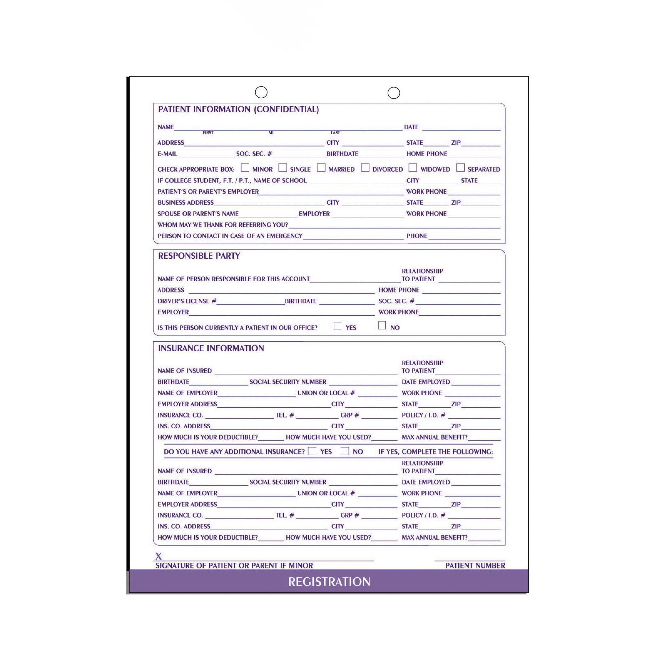 AMZfiling Dental Patient Registration Form (100/Package)