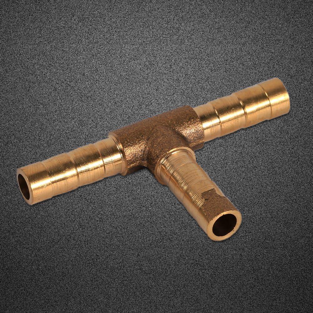 8mm Conector de uni/ón de manguera de combustible de pieza en T de lat/ón de 3 v/ías Conexiones de manguera de p/úas para aire comprimido Tubo de gas de aceite