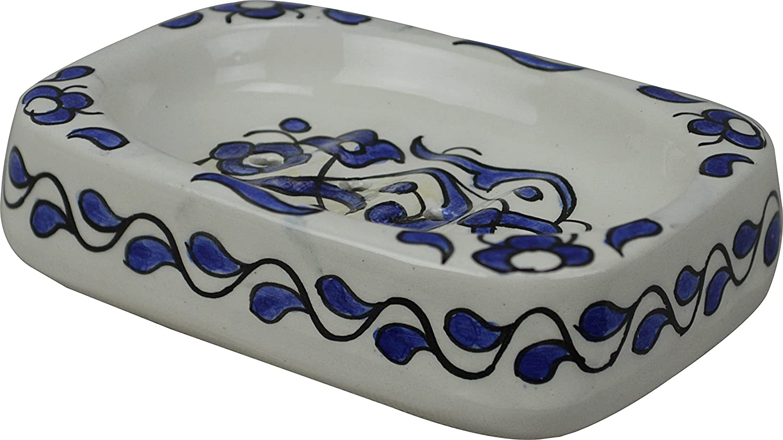 Fes / Marrakesh Blue Rectangular blue cobalt Ceramic Hand painted Moroccan Bathroom soap holder - L15 W8 H3 cm Maison Andaluz