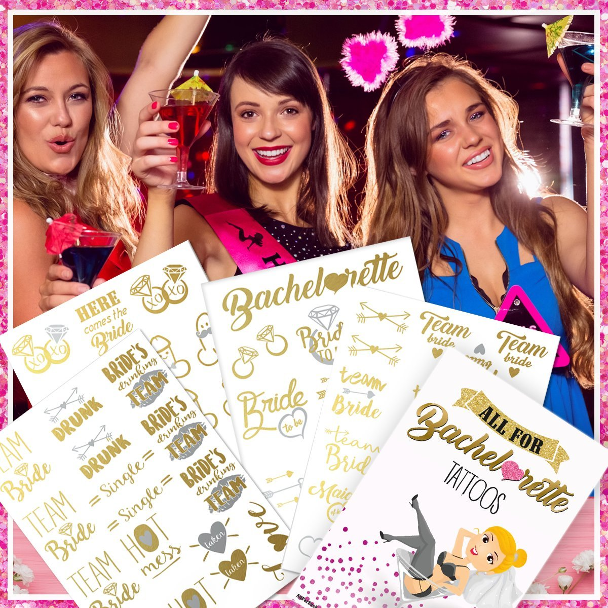 Bachelorette Party Tattoos - Gold & Silver Metallic Flash Temporary Tattoos, Mixed Set of 66 Bachelorette/Hen Party Favors by AllForBachelorette (Image #2)
