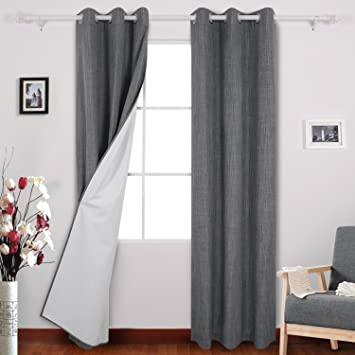 Deconovo Thermal Insulated Blackout Curtains With White Coating Layer  Window Grommet Curtains For Bedroom 38W X
