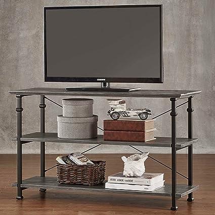 Amazon Com Modhaus Modern Industrial Gray Rustic Wood And Metal Tv