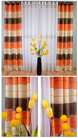PAIR STRIPED VOILE CURTAINS EYELET TOP READY MADE (57