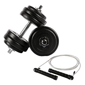 Fitness - Juego para todo el cuerpo - 30 kg mancuernas + Comba con pesos: Amazon.es: Deportes y aire libre