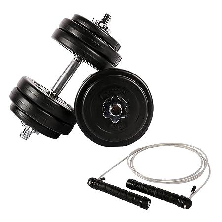 Fitness - Juego para todo el cuerpo - 30 kg mancuernas + Comba con ...
