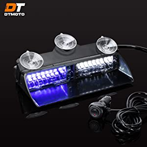 """9"""" 16W Blue White LED Emergency Strobe Windshield Dash Light for Volunteer Firefighter Vehicles - Interior Flashing Warning Lights w/Suction Cup"""