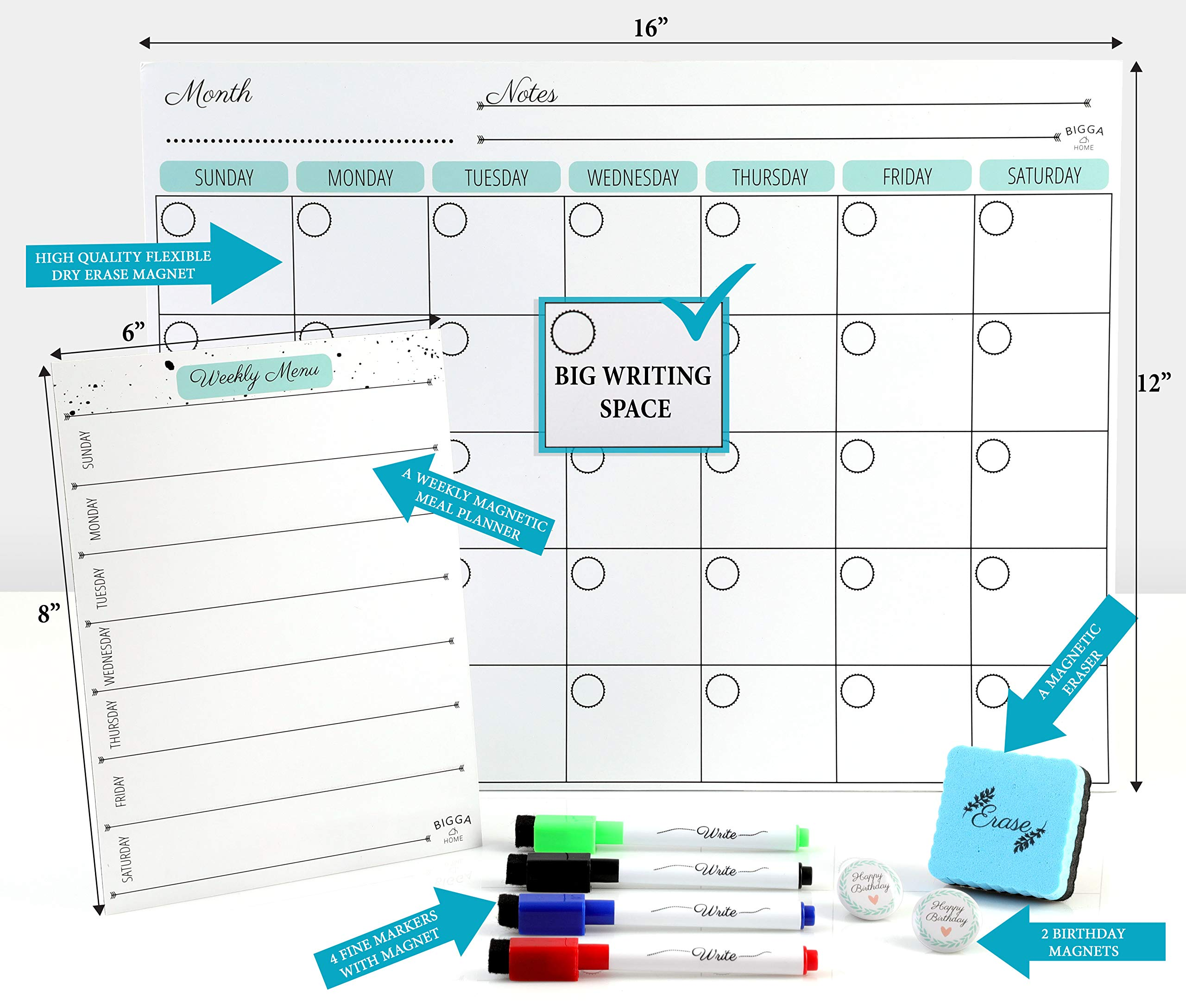 Dry Erase Monthly Magnetic Calendar Planner Set, White Board W/Extra Meal Planner, for Kitchen Refrigerator, Flexible, a Highly Designed Stiff Box for Home or Office. White, 16''x12''. by BIGGAHOME by Bigga Home (Image #3)
