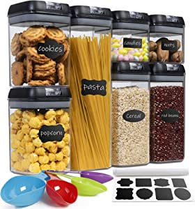Airtight Food Storage Containers Kitchen-Cereal-Organization - McKain 7 Pieces BPA Free Plastic Pantry Container Set with 24 Labels and Spoon Set