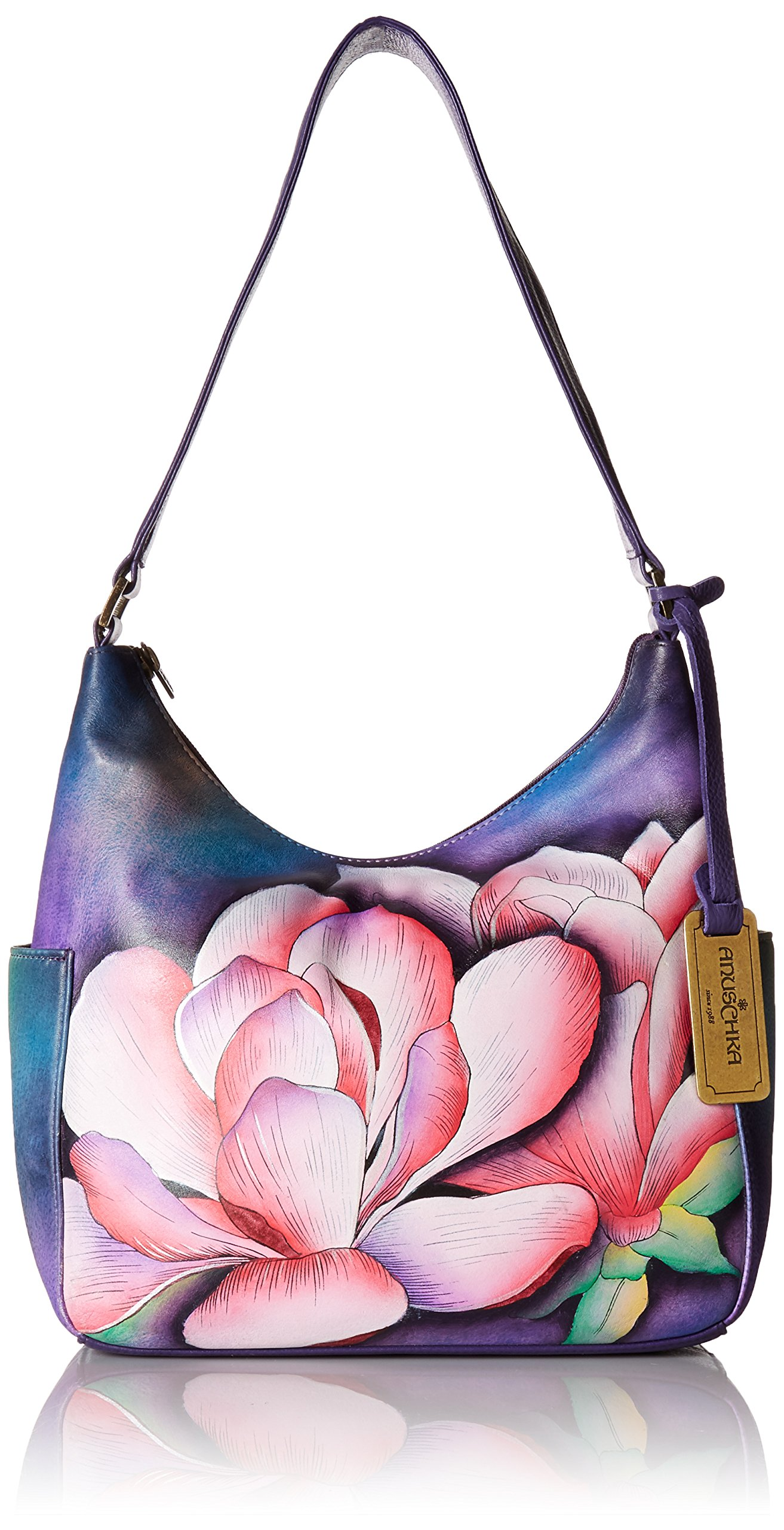 Anuschka Hand Painted Leather Women'S Classic Hobo with Side Pockets, Magnolia Melody