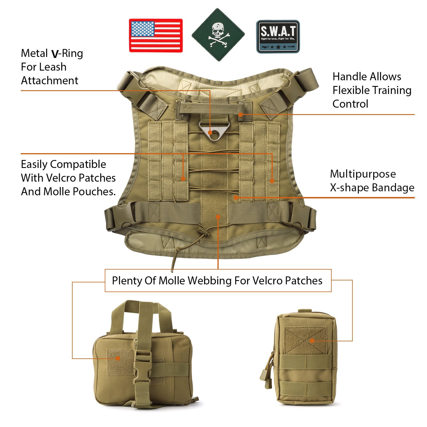 JASGOOD Tactical Dog Vest Military Harness With Detachable Molle Pouches/Patches Outdoor Training Handle Service Dog Vest by JASGOOD (Image #2)