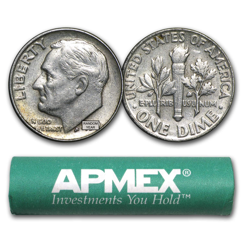 1946-1964 90% Silver Roosevelt Dimes 50-Coin Roll Avg Circ Dime Very Good