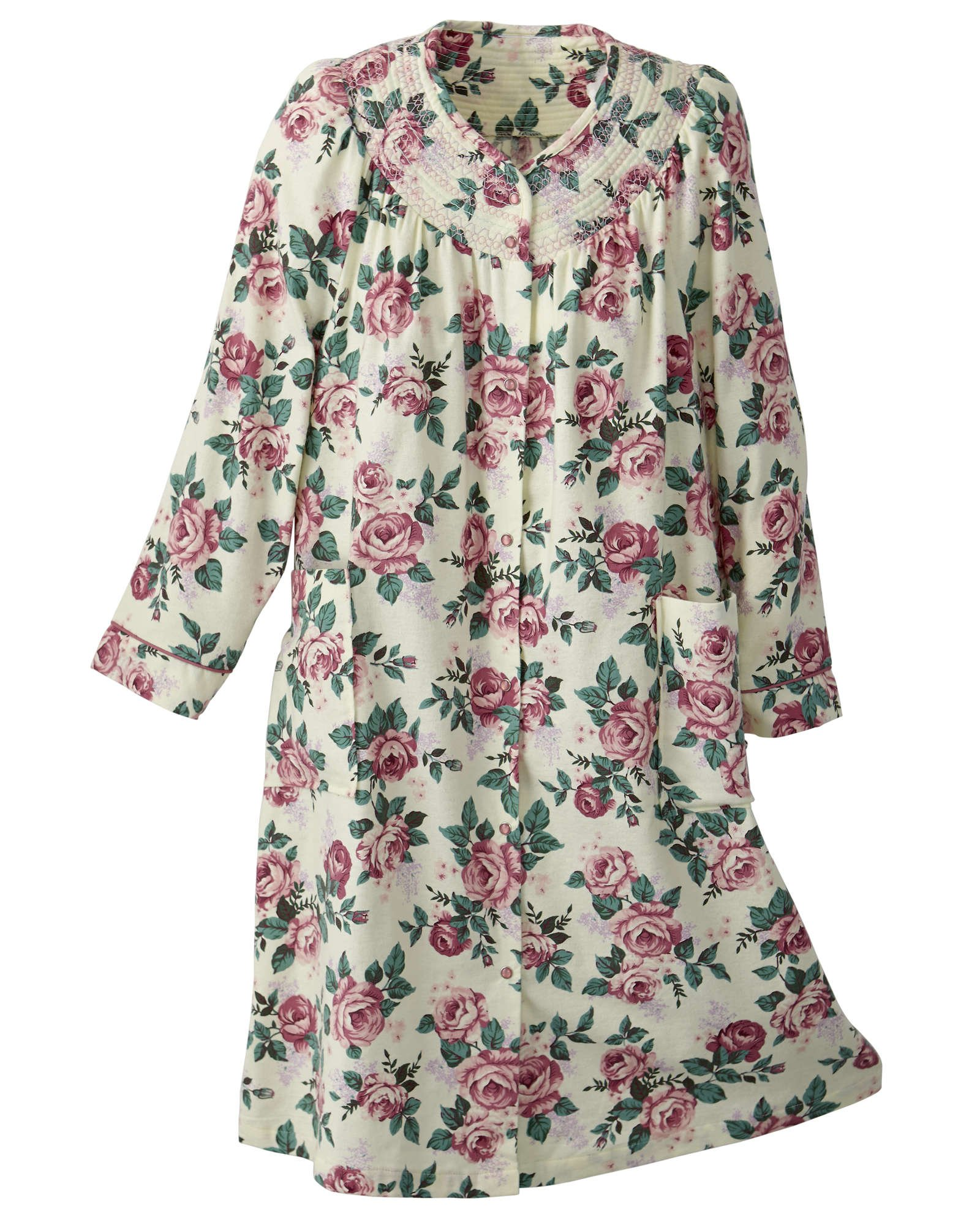 National Flannel House Coat, Pink Floral, 2X - Misses, Womens by National (Image #1)