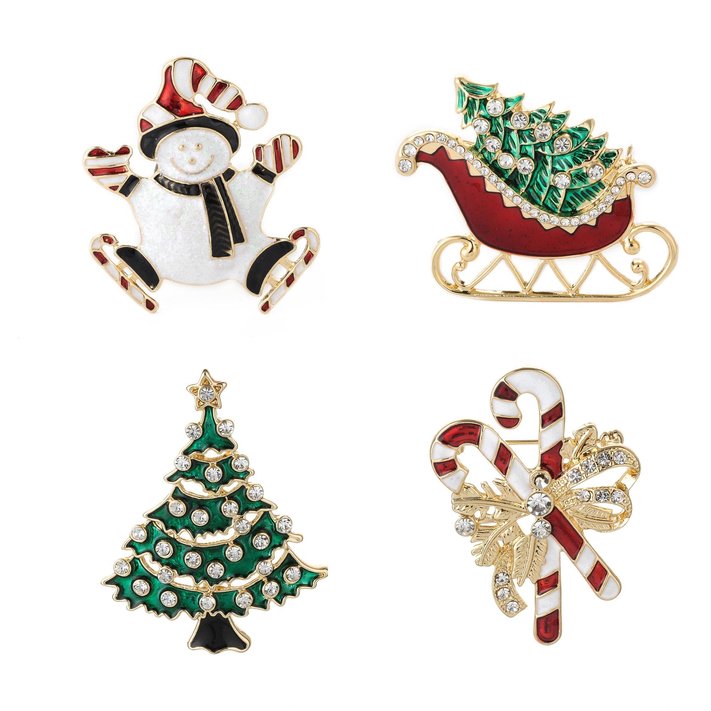 Jewelry Christmas Brooch Pins set Holiday Brooch Christmas Tree Snowman Xmas Pin Lot Party Favor Christmas Brooch Pin Set gifts jewerly christmas brooches pins set