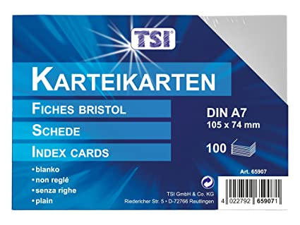 TSI - Tarjetas de cartulina (DIN A7, 100 unidades, en blanco ...