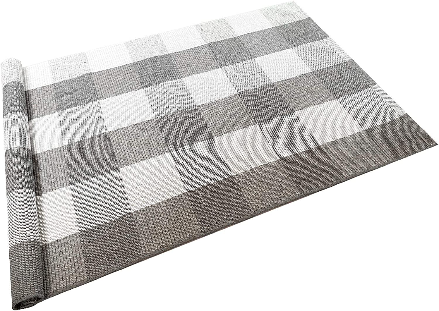 Ukeler Buffalo Check Rug 2×4- Grey and White Plaid Rugs Cotton Hand-Woven Checkered Door Mat Washable Farmhouse Rugs for Front Door/Kitchen/Laundry Room/Bathroom/Bedroom