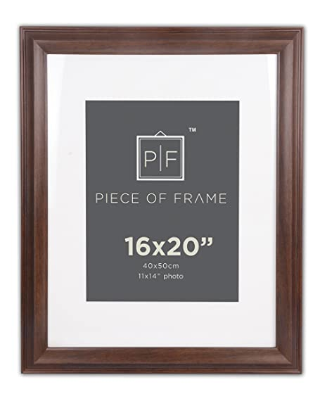 Golden State Art 16x20 Brown Border Photo Frame With Ivory Mat For 11x14 Picture