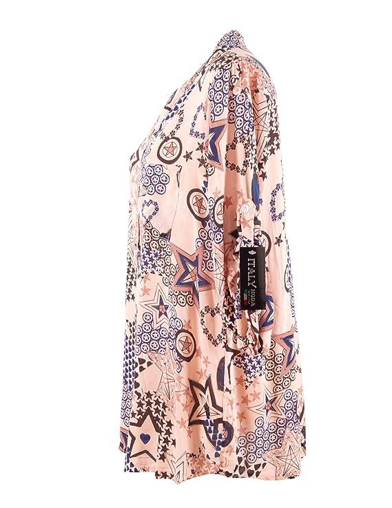 Moda Italy Damen Schlupfbluse Bluse Fischerhemd mit Sternen Muster V- Ausschnitt und Langen Ärmel mit Knopfriegel Longbluse Hemdbluse  Amazon.de   Bekleidung d73cb8f245