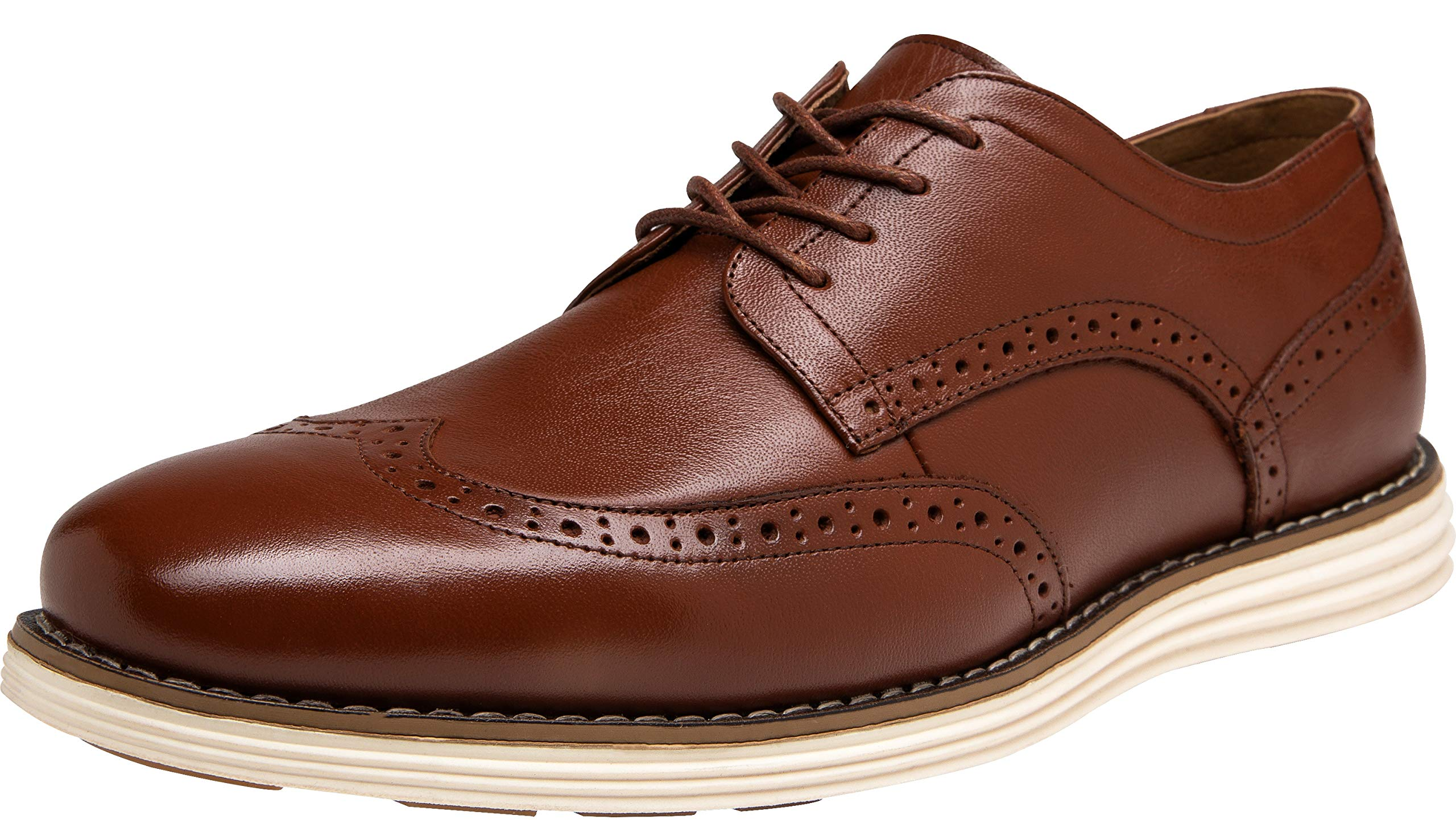 JOUSEN Men's Oxford Leather Dress Shoes Brogue Wingtip Casual Shoes (10,Wingtip-Oxblood)