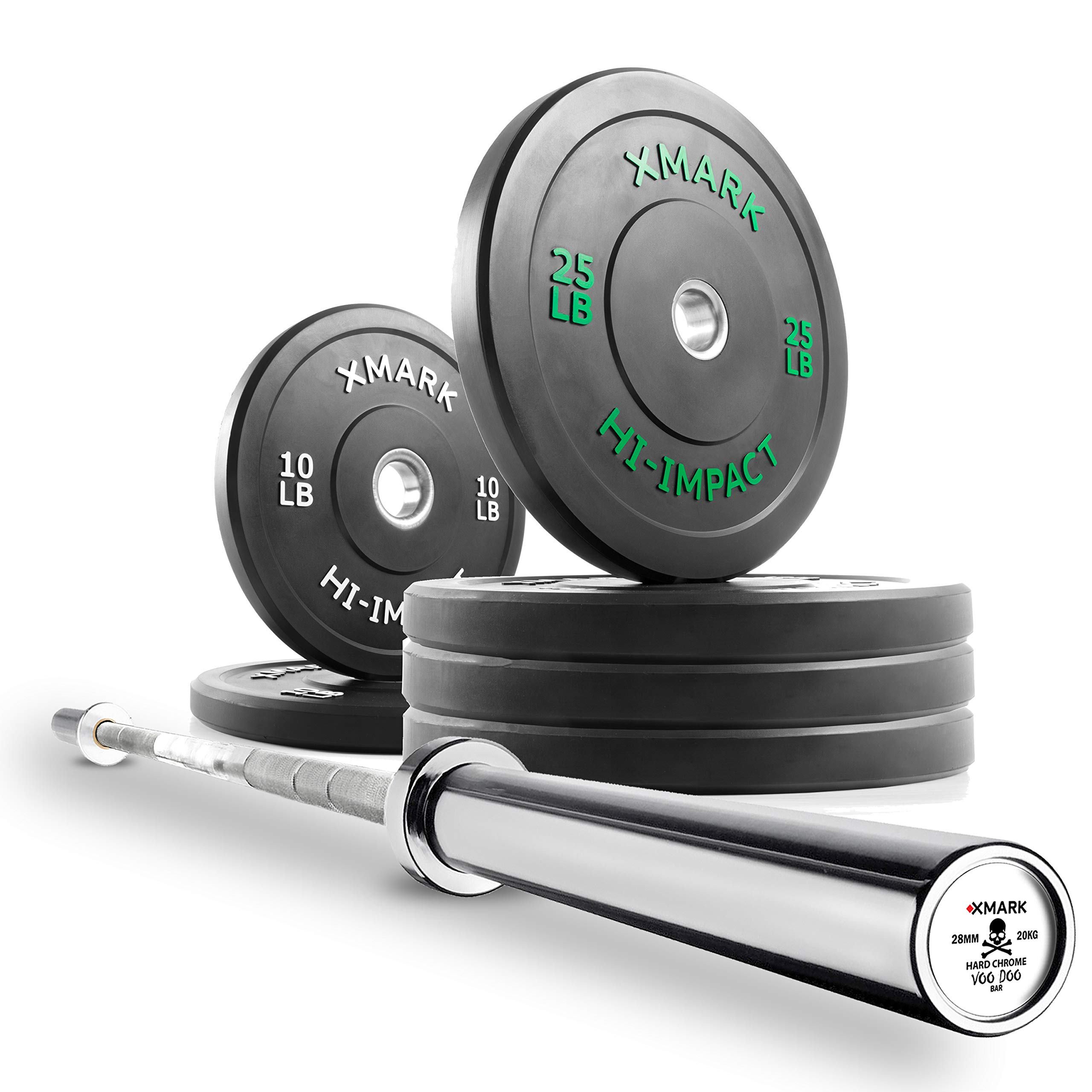 XMark Deadlift Voodoo-Chrome Olympic Bar and 120 lb XM-3393 Hi-Impact Commercial Olympic Bumper Set