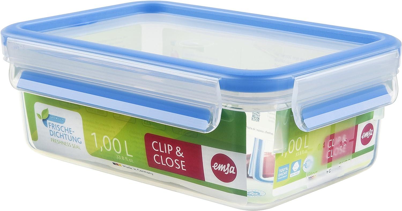 Emsa Clip & Close Conservador Hermético de Plástico Rectangular de 1 L, Transparente y azul