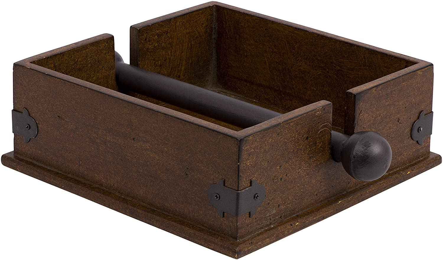 Creative Co-op CG0232 Square Wood Napkin Holder With Metal Bar, Large, brown