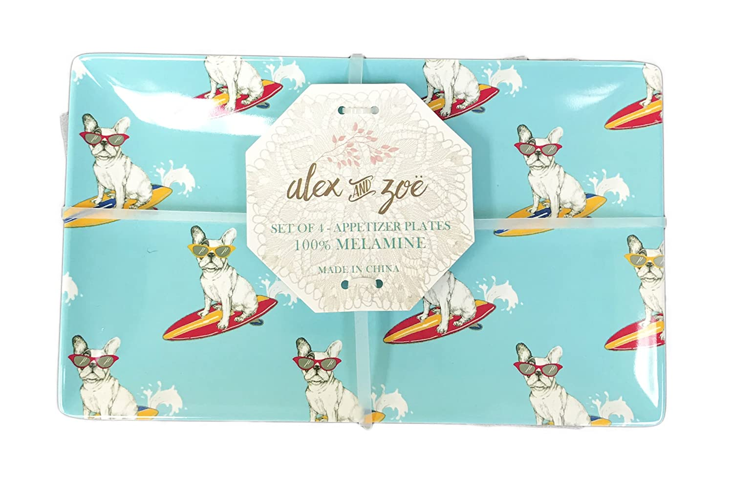 Surfing French Bulldog Sporting Cool Sunglasses Indoor/Outdoor Set of 4 Novelty Melamine Dessert Appetizer Plates Alex and Zoe