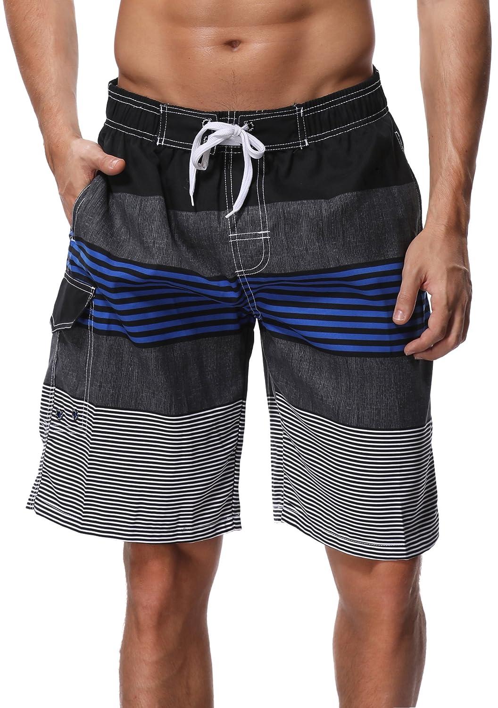 SHEKINI Men's Board Shorts Swimwear Striped Swim Shorts Swimming Trunks with Mesh Lining 1902