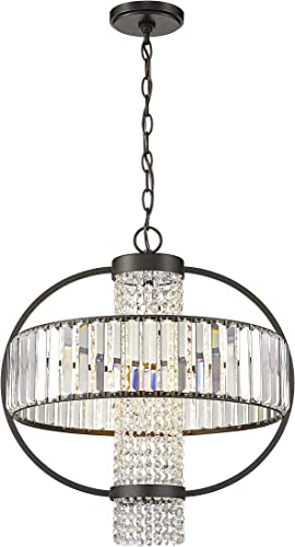 Crystal Chandeliers Ceiling Light Fixture with Round Drum Shade, Vintage Pendant Lighting Oil Rubbed Bronze Metal Chandelier