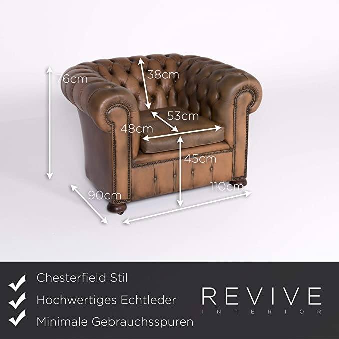 Chesterfield Leather Armchair Brown Genuine Leather Chair ...