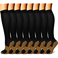 Copper Compression Socks(8 Pairs) for Men & Women 15-20 mmHg is Best Athletic & Daily for Running Flight Travel Climbing