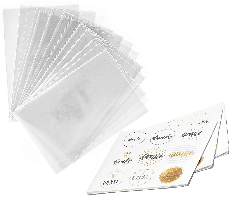 100 x Bolsas Celofán Transparentes con pegatinas DANKE - 15 x 20 cm Bolsitas de Regalo para Fiesta Boda Baby Shower Cumpleaños Navidad San Valentín ...