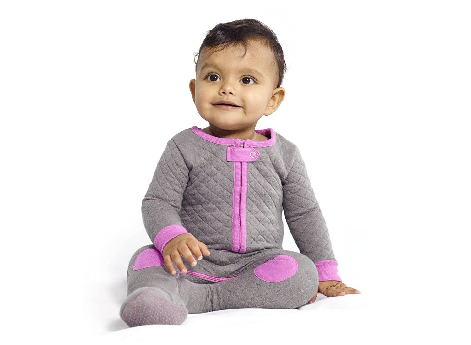 Baby Deedee Footed Quilted One Piece Pajama with Easy Diaper Zip Pack of 1 3-6 Mos Khaki//Lime