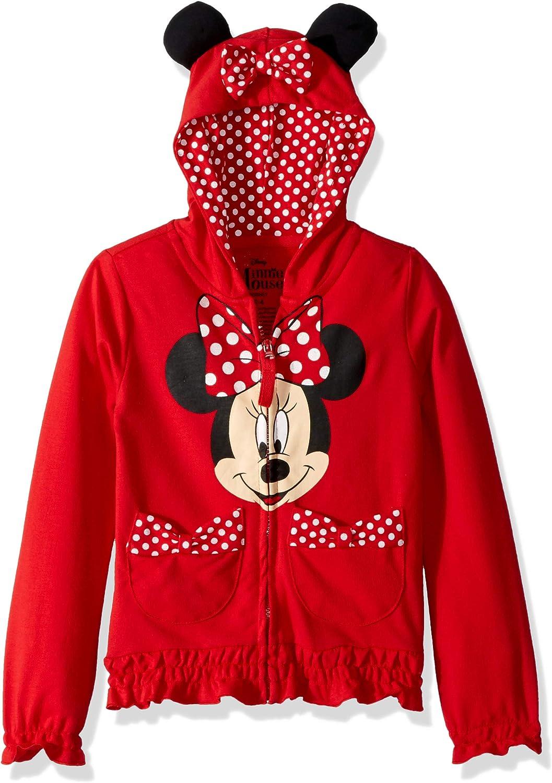 Disney Girls' Minnie Polka-Dot Bow Hoodie: Clothing