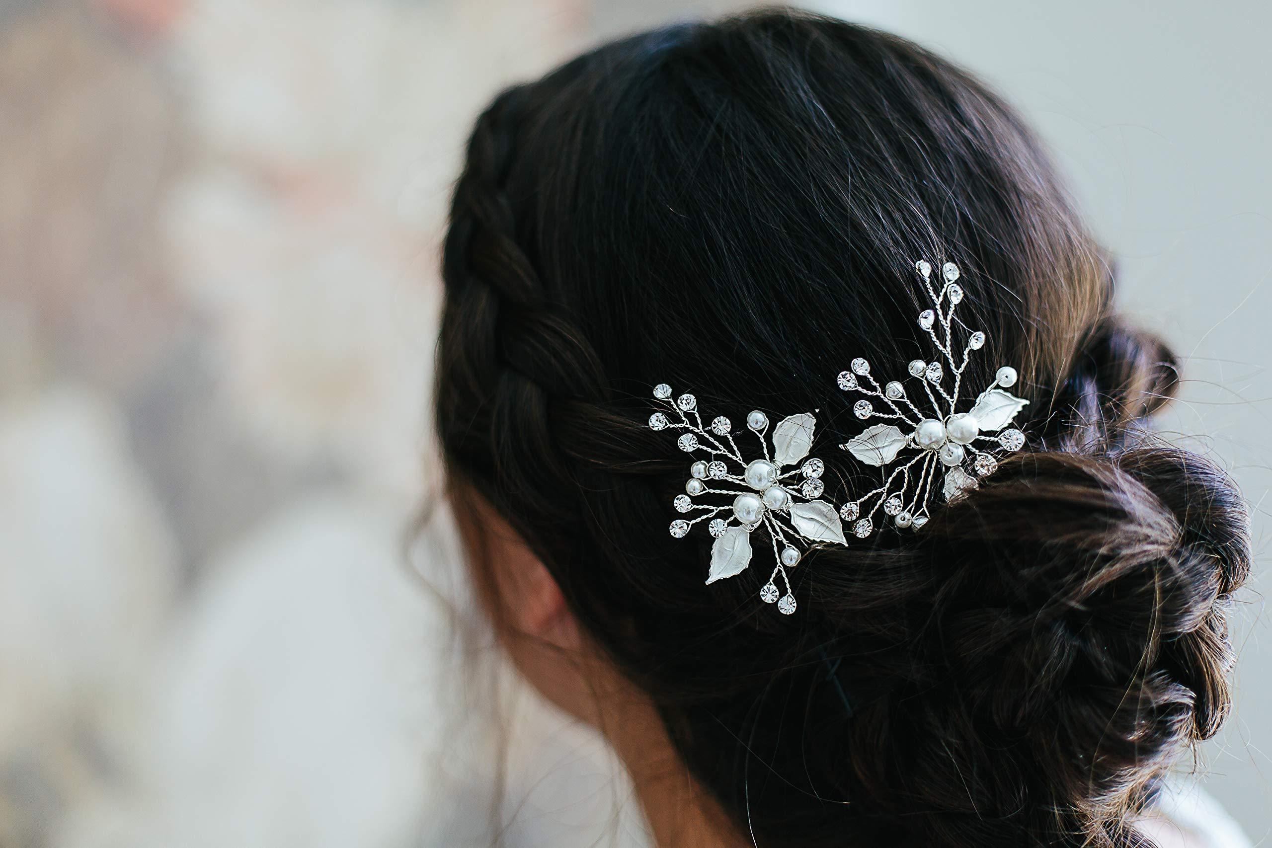 Victoria - bridal hair pins, vintage inspired headpiece, pearl hair pins, silver hair accessory